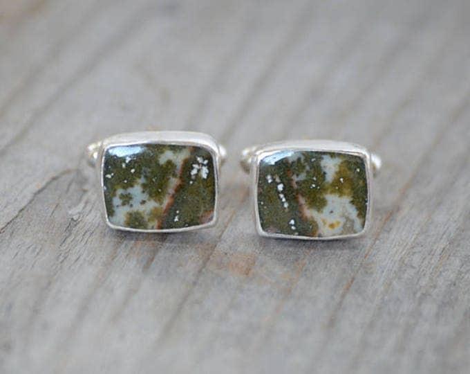 Ocean Jasper Cufflinks Set In Sterling Silver, Gemstone Cufflinks For Him, Wedding Gift Handmade In The UK