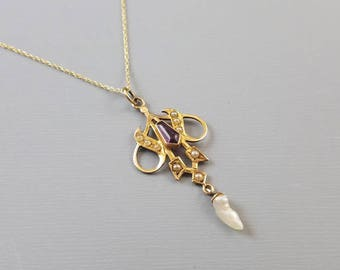 Antique Edwardian 10k gold purple amethyst  and pearl lavalier pendant necklace