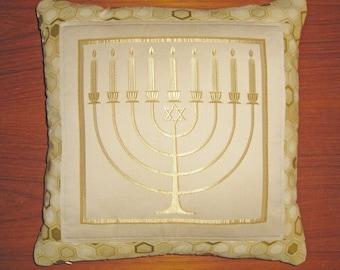 Hanukkah Hanukkiah Jewish Decorative Pillow Cover 20 inch Golds