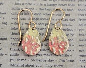 Small Earrings, Vintaj Earrings, Vintaj Jewelry, Yellow and Peach Jewelry, Everyday Earrings, Dainty Earrings, Patina Jewelry, Disc Earrings