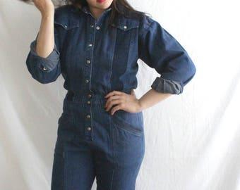 The Jean Genie Jumpsuit | 1980s Denim Jumpsuit | Vintage 80s Dark Wash Blue Jean Romper One Piece | Medium M