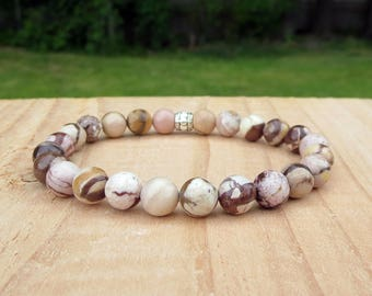Tan Stretch Bracelet, Trendy Beaded Contemporary Wristband, Unisex Stylish Zebra Gemstone, Stackable His and Hers Stone Casual Everyday Wear