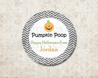 Personalized Halloween Stickers Pumpkin Poop Stickers Party Favor Treat Bag Stickers SH021