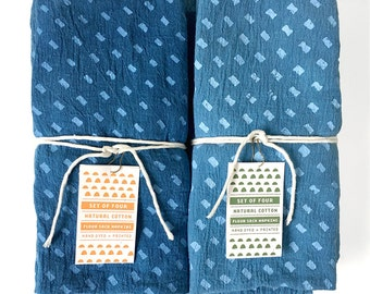 Rustic Cloth Napkins, Indigo Dyed Napkin Set, Handprinted with Minimalist Dash Pattern, Set of 4