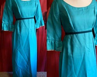 Lorrie Deb San Francisco Vintage 1960s Bridesmaid Dress in Blue with Velvet Trim, Size 11 Full Length Dress, Vintage Aqua Lorrie Deb, SALE