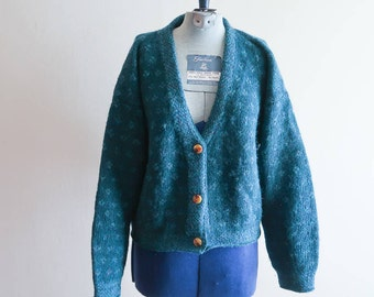 Turquoise pattern 90s cropped cardigan sweater by Outback Red sz. Small / Medium