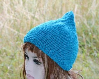 Womens Turquoise Pixie Hat  Festival Hat Uk Hats Chunky Knit Knit Hat Gnome Hat Accessory Fall Winter Hat Turquoise Hat Ski Hat Teens Hat