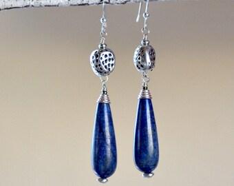 Lapis Lazuli Earrings. Teardrop Sterling Silver Earrings. Navy Blue Lazurite Gemstone Earrings. Contemporary Rustic Earrings.