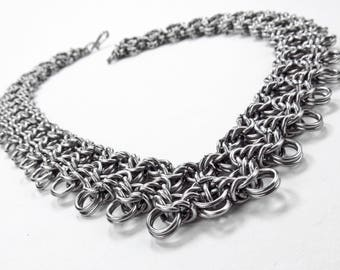 Chainmaille Necklace - Split Byzantine Pattern