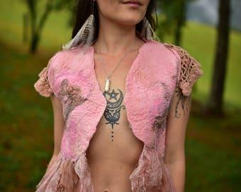 Nuno Felted Bolero-Vintage Doily Vest-Felt Silk Bolero-Fairy Top-Pixie Vest-Woodland Costume-Wedding Bolero-Vintage Doily Top-Felt Top OOAK