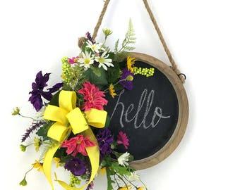 Chalkboard Sign Wreath, Kitchen Decor Wall Art, Kitchen Decor Signs, Chalkboard Sign Bridal, Summer Wall Art, Flower Wall Decor