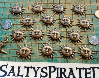 16 brass suns, stamped sheet brass, vintage recycle upcycle