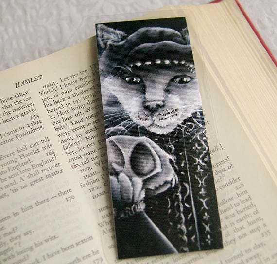 Hamlet Cat Bookmark Shakespeare Yorick Skull Black and White Cat