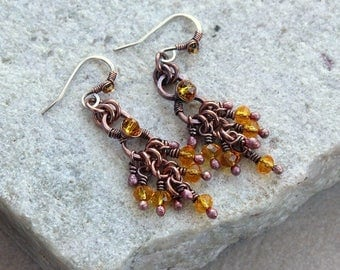 Yellow Beaded Chandelier Earrings, Small Size, Antique Copper, Crystals, Wire Wrap, Handcrafted, Canada, Sterling Silver Earwires