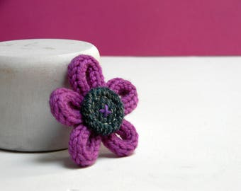 Flower brooch - Textile brooch pin - Wool brooch -  Made in Italy - Orchid pink brooch - Tweed brooch