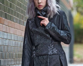 LORENZA  Black and Sequin Patchwork  Covered  Black Couture Fully Lined Jacket