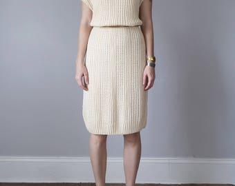 80s cream knit sweater shift dress deadstock sleeveless (s - m)