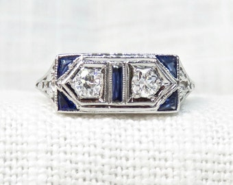 Art Deco Diamond Engagement Ring with Natural Blue Sapphires; Vintage Diamond Ring in 18k Gold; Promise Ring or Wedding Ring; .55 Carats