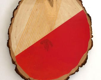 Artifacts of Joy - Red and Gold Artifact - Painting on Wood - Wood slice - Abstract art