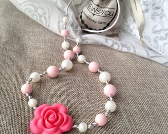 Sakura Pink Flower / Silicone Teether Necklace / Sensory / Newborn Gift / New Mom Gift / Gender Neutral / Chew Beads / Rainbow  / BPA Free