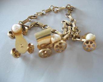 Gold Filled Charm Bracelet, Genuine Pearls, Roller Skate, Wagons, Amco, 1940s, Link Chain, 12k gold filled