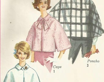 Vintage 60s Simplicity 546 Misses Set of Capes Accessory Sewing Pattern Size Medium