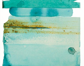 """Abstract Waterscape, Original Ocean Watercolor Painting, blue, green, teal, turquoise, brown 8 x 10"""" painting on paper, minimal artwork"""