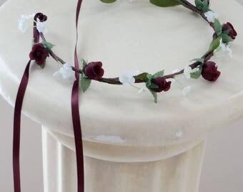 Vineyard Wedding Accessories flower girl halo Burgundy Bridal floral crown Crown headpiece marsala Hair Wreath child photo prop