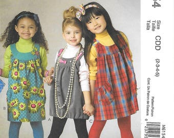 McCall's 6154 UNCUT Childs Jumper with Gathered Hem Sewing Pattern Sizes 2 3 4 5 Rounded Neck Gathered Yoke