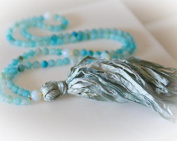 Mala 108 Bead Tassel Necklace. Aqua Blue Agate & Sari Silk Tassel. Yoga Jewelry. Prayer Beads. Meditation Beads.