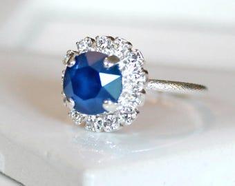 Royal Blue Swarovski Crystal Halo Ring in Silver, Adjustable