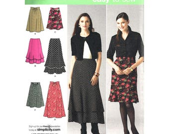 Flared Skirt Pattern Simplicity 2516 Tiered Flounce Skirt Mini Midi Above Ankle Length Skirts Womens Sewing Pattern Size 8 to 16 UNCUT