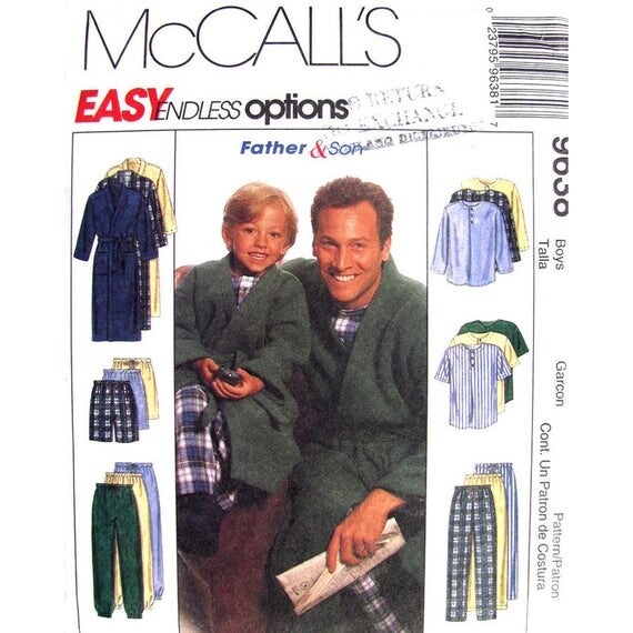 Boys Wrap Robe, Pajama Top Shorts Pants Sewing Pattern McCalls 9638 Size 3 to 8
