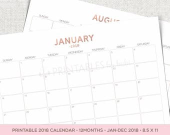 2018 Calendar Printable, Wall Calendar, Rose Gold, Monthly Calendar, 2018 Calendar, Printable Calendar, Desk Calendar, 2018 Planner Pdf