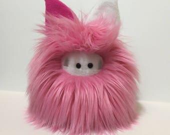 Stuffed Monster - Monster Plushie - Pink Monster Doll - Cuddly Girl Monster - Soft Toy Plush Monster - Fuzzling - Handmade Valentines Day