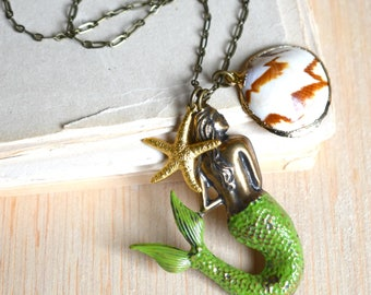 Mermaid Pendant Shell Necklace Starfish Jewelry Summer Nautical Pendant Sailing Travel Gift for Her Steampunk Mermaid Ocean Sea Creature