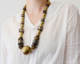 1980s Wood and Brass Statement Necklace