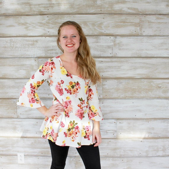 Bell Sleeve Peplum Top - Fall Floral