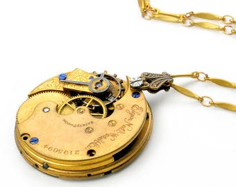 Antique 1886 Elgin Pocket Watch Movement Steampunk Necklace