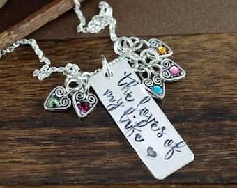 Personalized Grandma Birthstone Necklace, Engraved Necklace, Mother's Birthstone Necklace, Gift for Grandma Granny Nana, Loves of my Life
