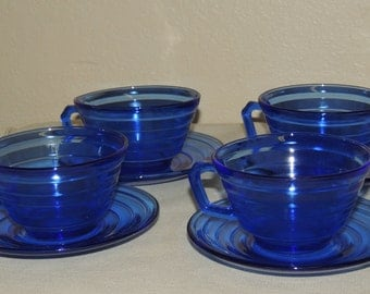 4 MODERNTONE Cobalt Blue cup and saucers