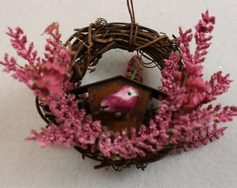 Bird and Rustic Birdhouse Christmas Ornament 201