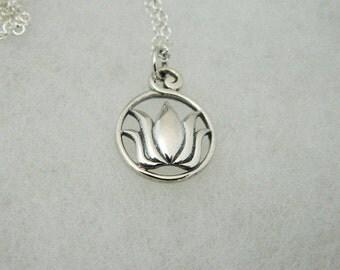 Lotus Blossom Sterling Silver Pendant  Ships Free