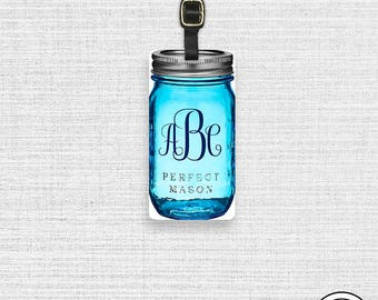 Luggage Tag Custom Monogram Mason Jar Cottage Chic Blue Personalized Luggage Tag - Personalized Address or Info on back Single Tag
