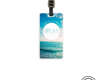 Luggage Tag Relax Ocean Waves Vintage Style Metal Luggage tag  Printed Custom Info Single Tag