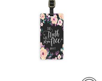 Personalized Luggage Tag Bible Verse  The Truth Will  you Free - Full Metal Tag Single Tag