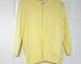 Vintage Jones New York Twinset Cardigan and Tank Yellow Cotton 1980s