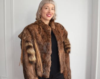Vintage 80's Raccoon Tails Leather Fringe Tassels Golden Brown Mink Fur Coat 1980's Medium Large Small Native American