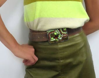 "Western Buckle with Green Turquoise & Brown-Large (3.5"" by 2.5"") Rodeo Cowgirl/boy Womens/Men's Belt Buckle (Fleur de Lis)"