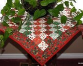 Reversible Christmas Table Topper, Pieced and Quilted Centerpiece, All Season Table Mat, Green Red White